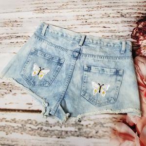 Butterfly Patch Jean Shorts
